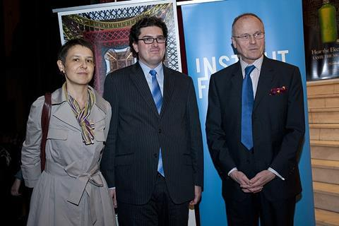 From right, Elise Jalladeau, artistic direcrtor of the festival, Olivier Descotes president of the festival and the French Ambassador  Jean Loup Kuhn-Delforge at the opening of the festival